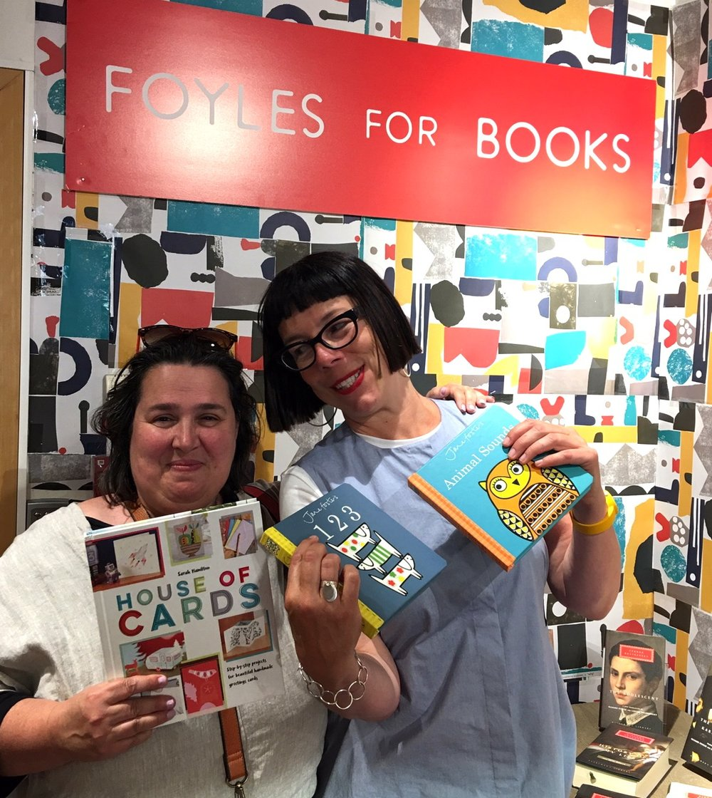 Jane in Foyles with our very own Sarah Hamilton and their books!