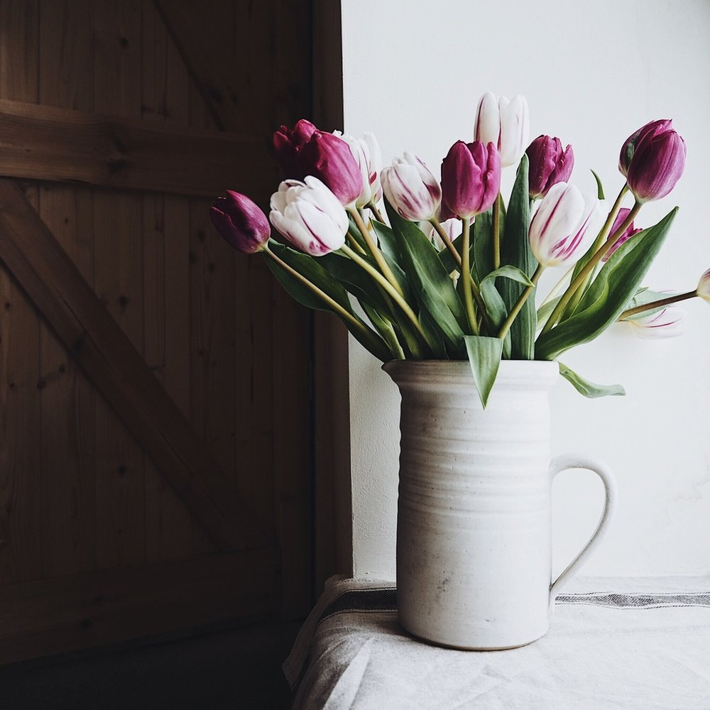 Jug of purple tulips on a windowsill.jpg
