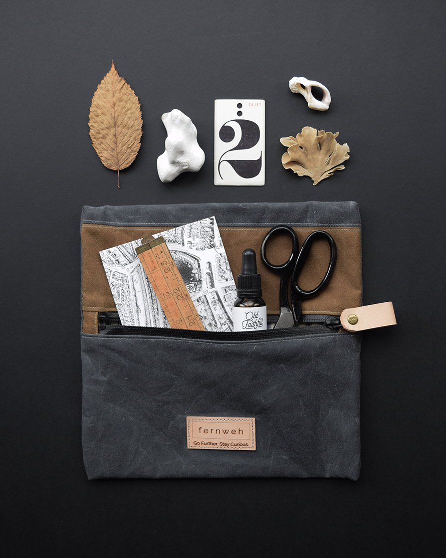 Handmade waxed cotton outdoor pouch by Fernweh.jpg