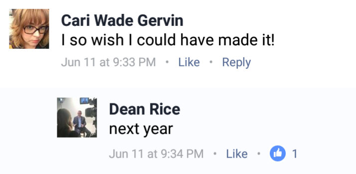 Discussion between Cari Gervin and Dean Rice on Facebook early this year.