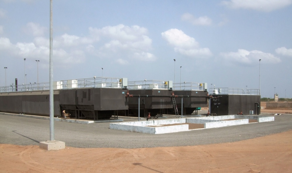 Camp Lemonier, Djibouti   3x80,000 GPD (3.5 l/S) High Rate Prefabricated steel secondary treatment systems, 125,000 GPD (5.5 l/s) Dual Media Tertiary Filter, Bolted Steel potable water tanks with booster station pump skid