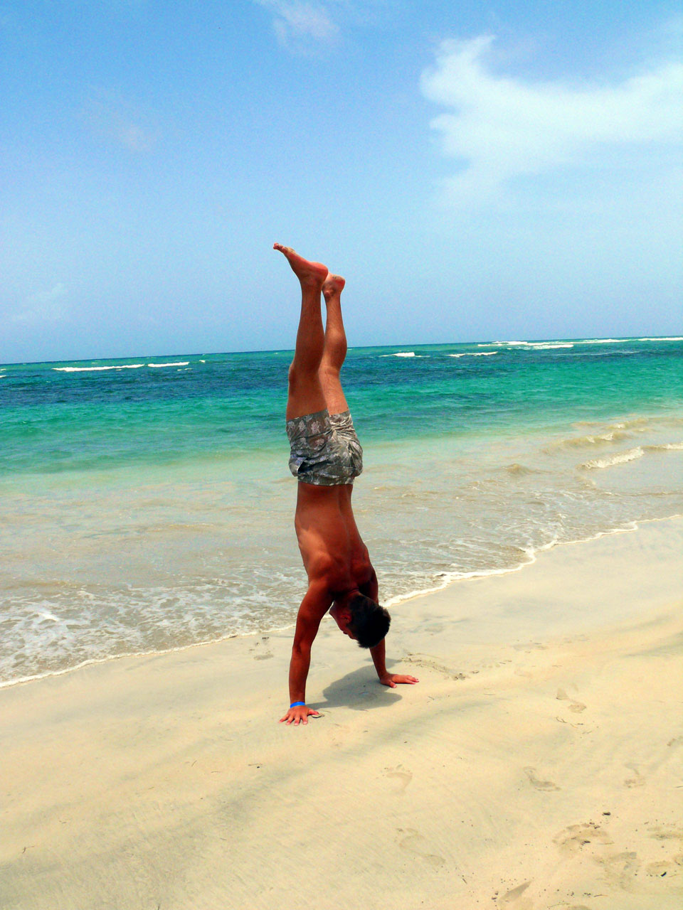 verticale in spiaggia