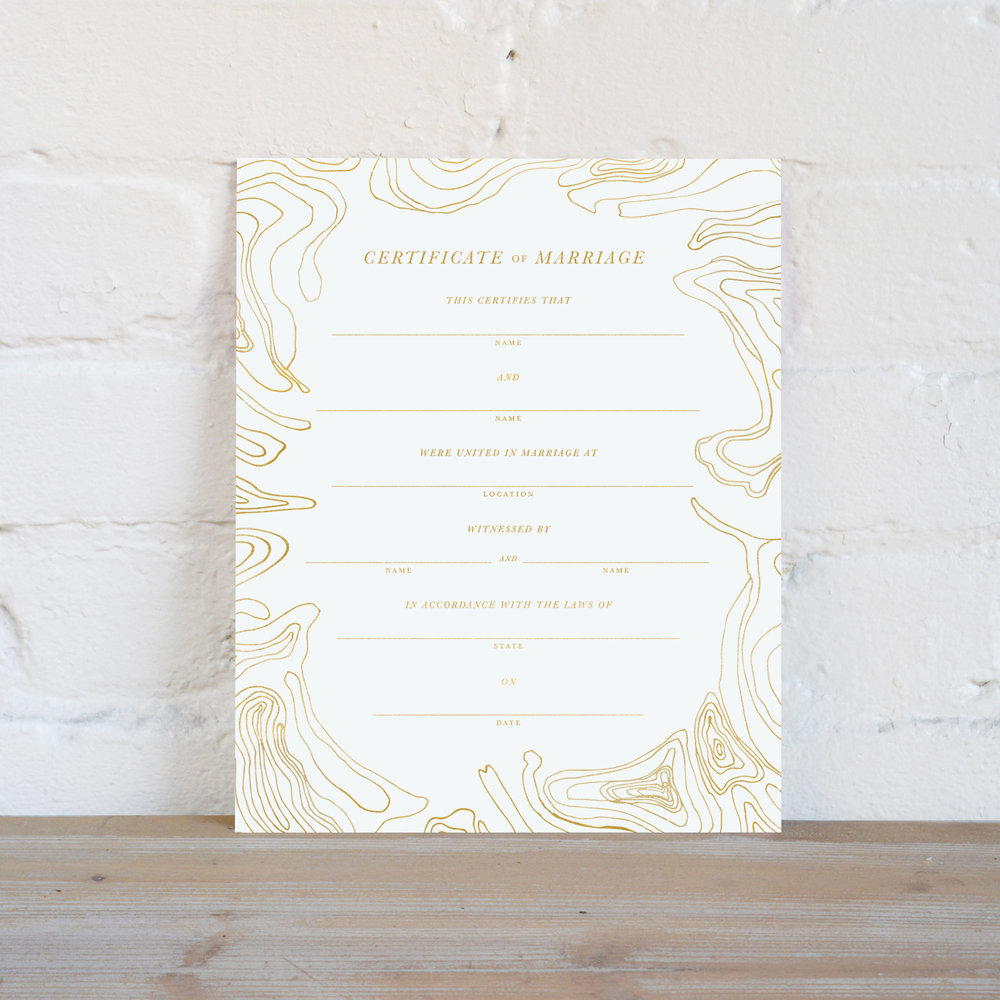 Marriage Certificate Gold Foil August Osceola