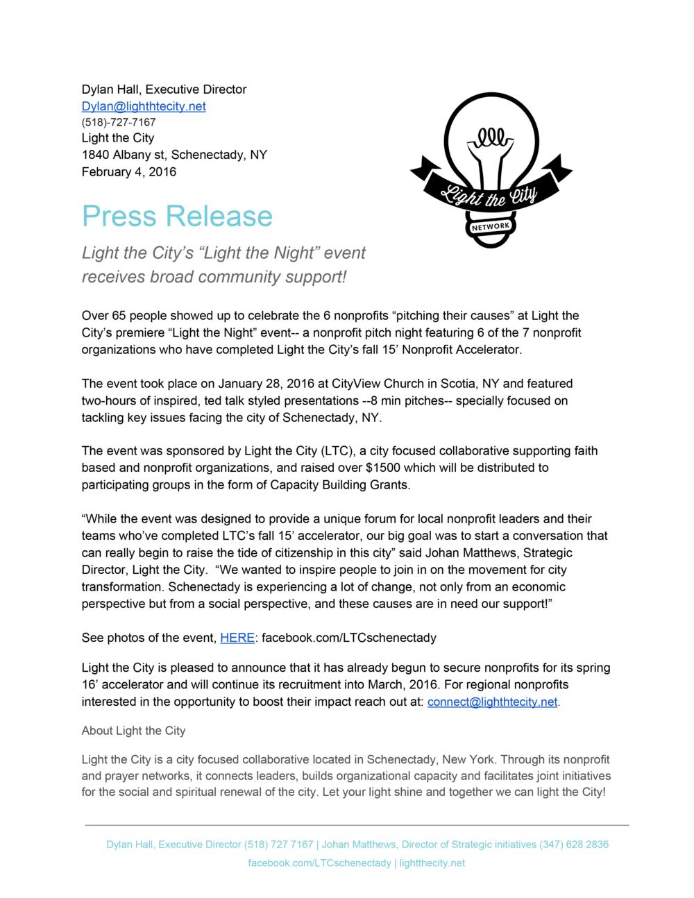 Light the Night Press Release