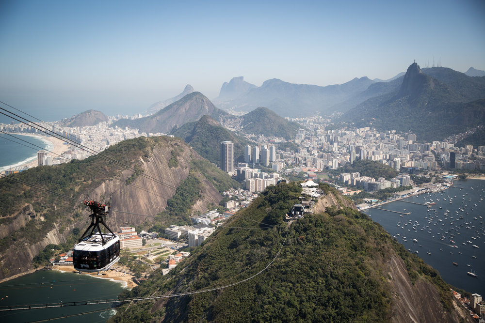 Sicht vom Zuckerhut   auf Rio de Janeiro, den Corcovado, Copacabana (links) und Botafogo (rechts)  .