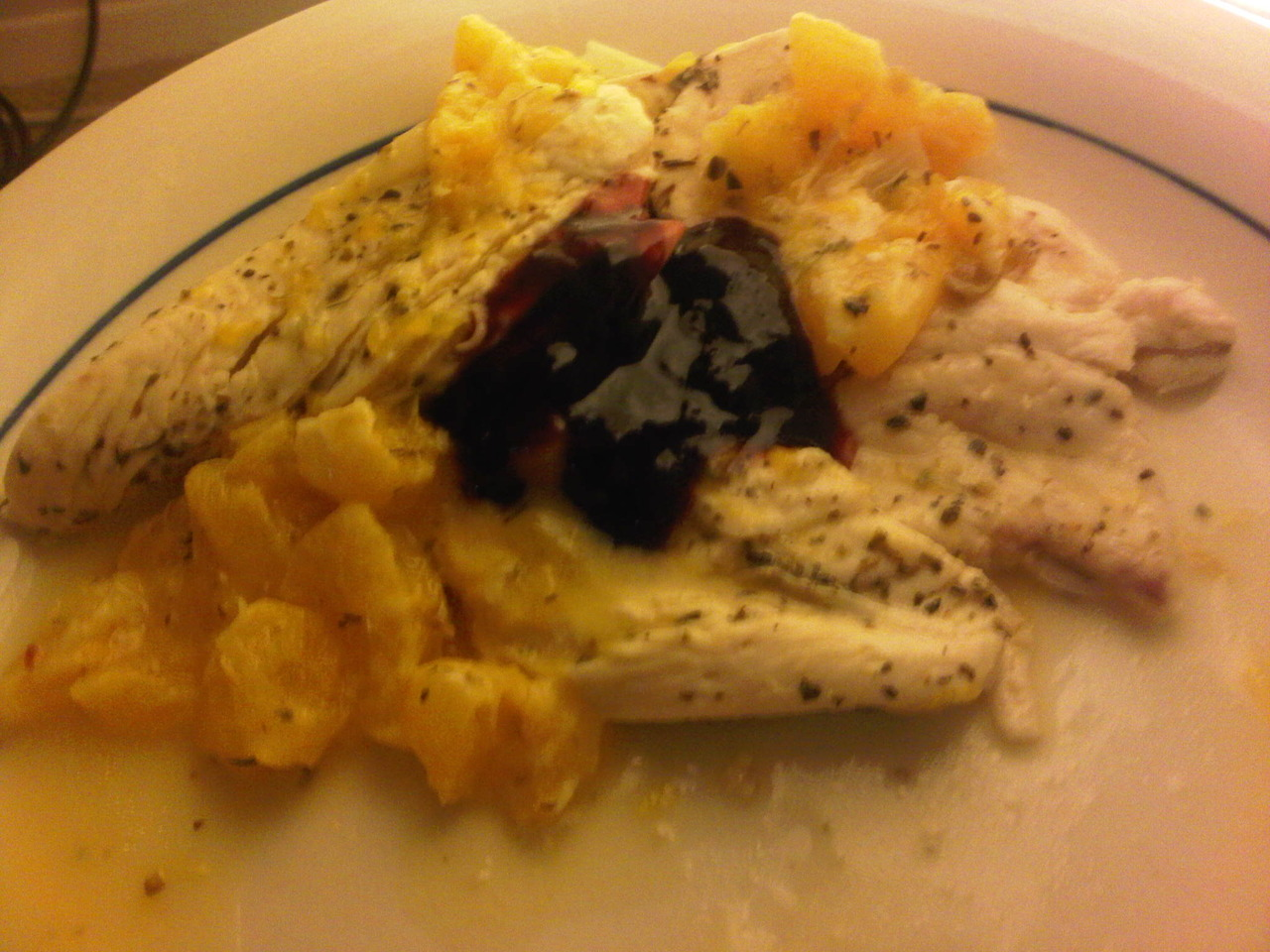 Chicken in a Clementine Wine Sauce With Blueberry Jam