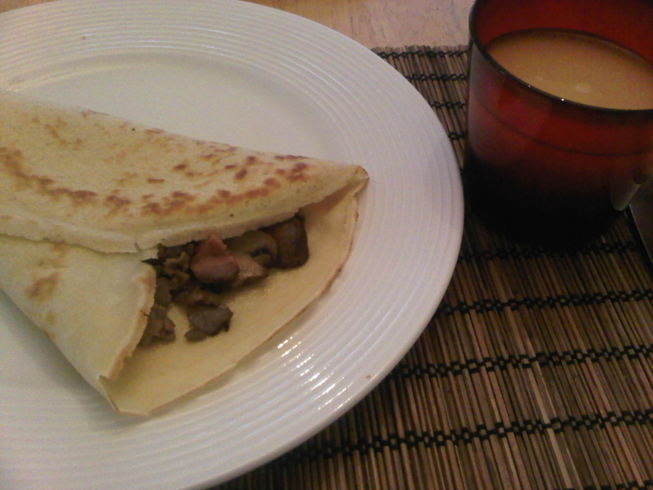 Roast Beef and Mushroom Crepe (with a Nutella Crepe on the side!) For crepe batter: 1 cup flour, 2 eggs, 1 cup milk, 2 tbsp melted butter, and a pinch of salt