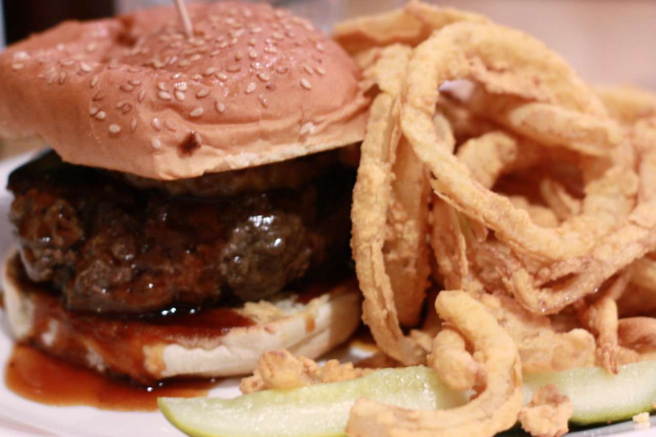 The Tea Party Burger @ Bartley's Burger Cottage in Harvard's Square