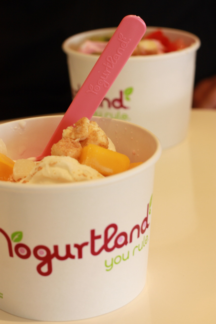 Coconut and Plain Tart Yogurt With Cheesecake Bites, Mango, and Mochi @ Yogurtland in Alhambra