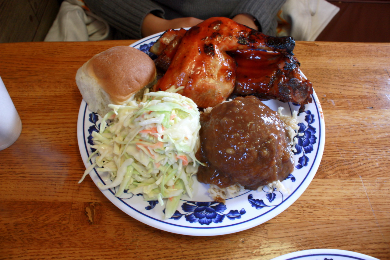 Lunch Special (BBQ Chicken and Beef Rib with Cole Slaw, Gravy Rice, and Roll) @ Country Chicken and Rib BBQ in Azusa