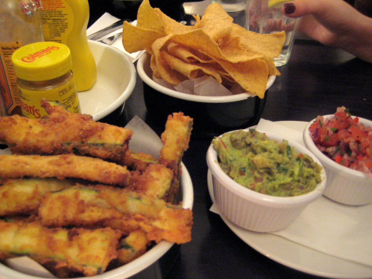 "Courgette Fries and Chips & Salsa @  Byron ""Proper Hamburgers""  on Old Brompton Road"