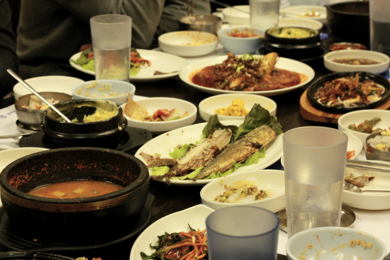 An epic korean special (Bulgogi, fried mackerel, pollock fish with daikon, potato pancake, kimchi, pumpkin, steamed egg, and all these other side dishes, nom nom nom) @ Han Sang Korean Restaurant in Diamond Bar