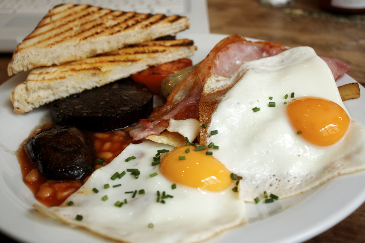 """The Full Monty @  The Breakfast Club  in Hoxton    Had a proper English breakfast and a mocha! I am  INLOVE  with the Breakfast Club, especially the bathroom - """"world's smallest disco."""" How can you not love a place that has """"gettingjiggywithit"""" as a wifi password."""