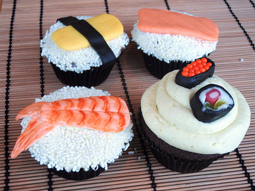 That is the most awesome thing ever:  SUSHI CUPCAKES