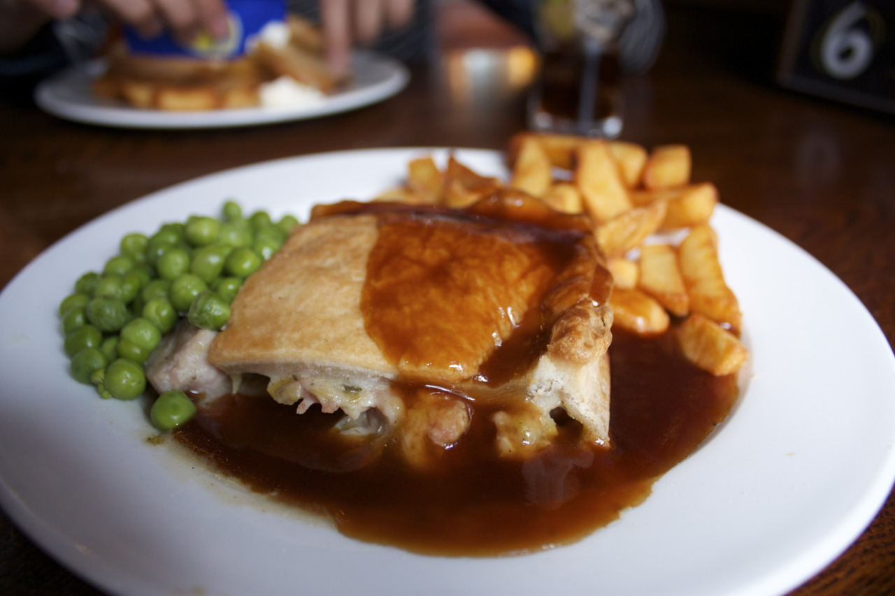 Chicken, Ham and Leek Pie with peas and chips @ The Redan Pub in Bayswater