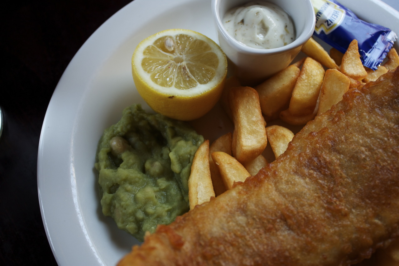 Last time having fish & chips with mushy peas @ Gloucester Arms in South Kensington