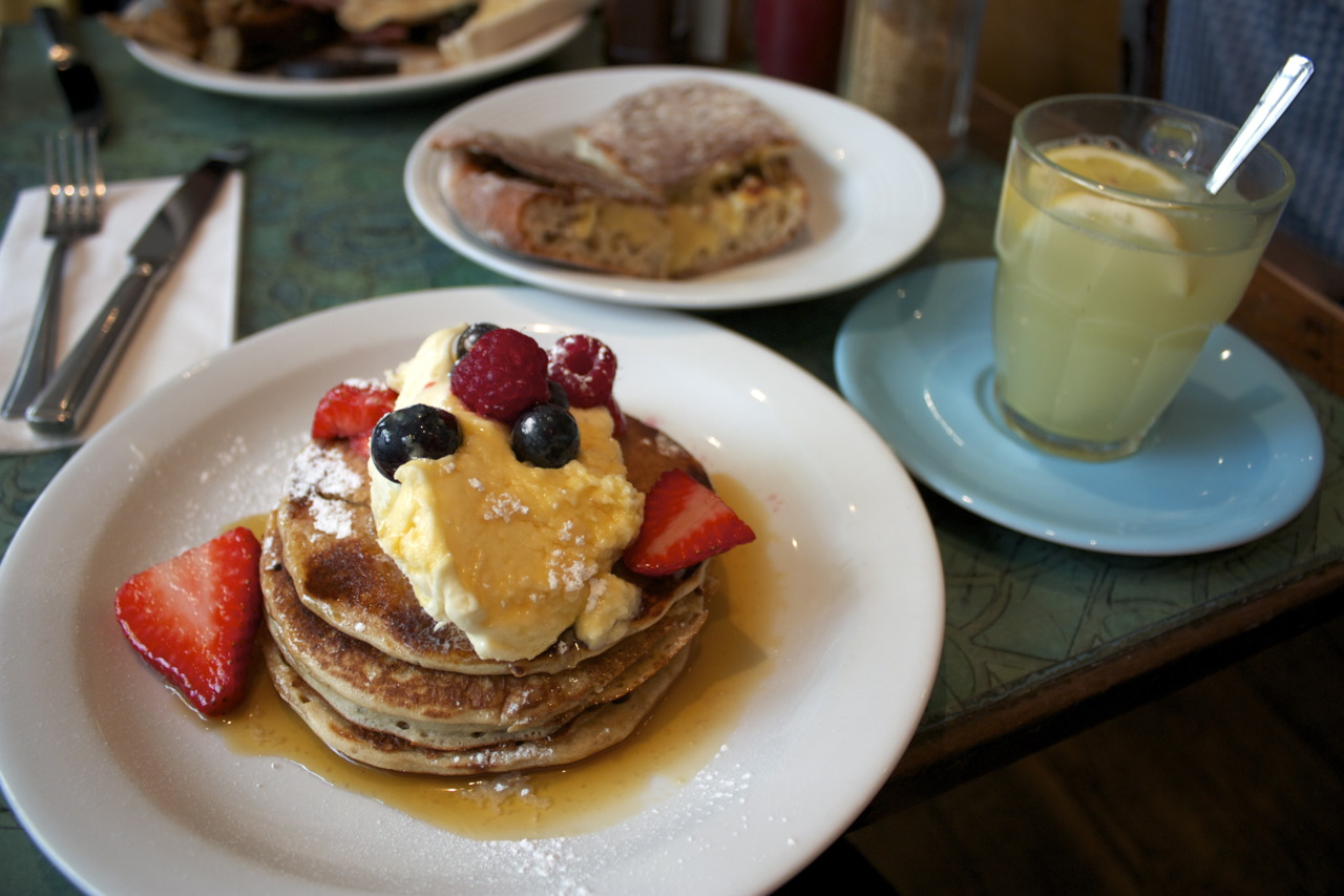 Berry Pancakes; Marmite on Toastie; and Lemon Ginger Tea @  The Breakfast Club  in Hoxton    Just had to go back there one last time, love love love.