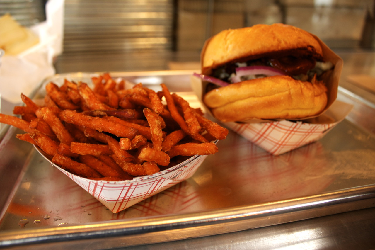 Western Bacon Blue Ring Burger and Sweet Potato Fries @  Gott's Roadside  in San Francisco, CA
