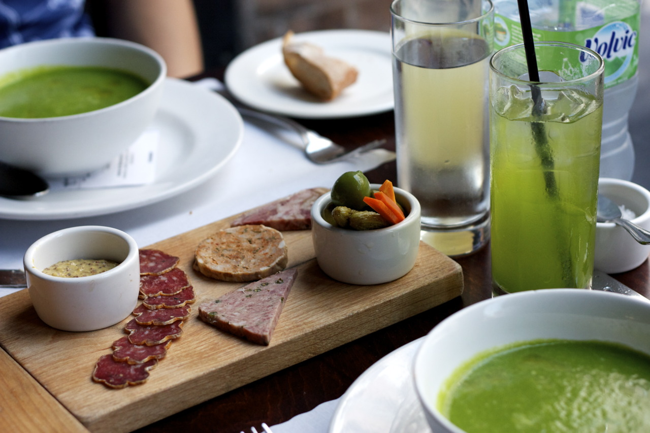 Planchette de Charcuterie  (selection of artisan & housemade pâtés,   terrines & wild boar salami)  and a chilled green tomato soup @  Church & State Bistro  in Los Angeles, CA    I fell in love with their fresh parsley water - the green drink on the side.