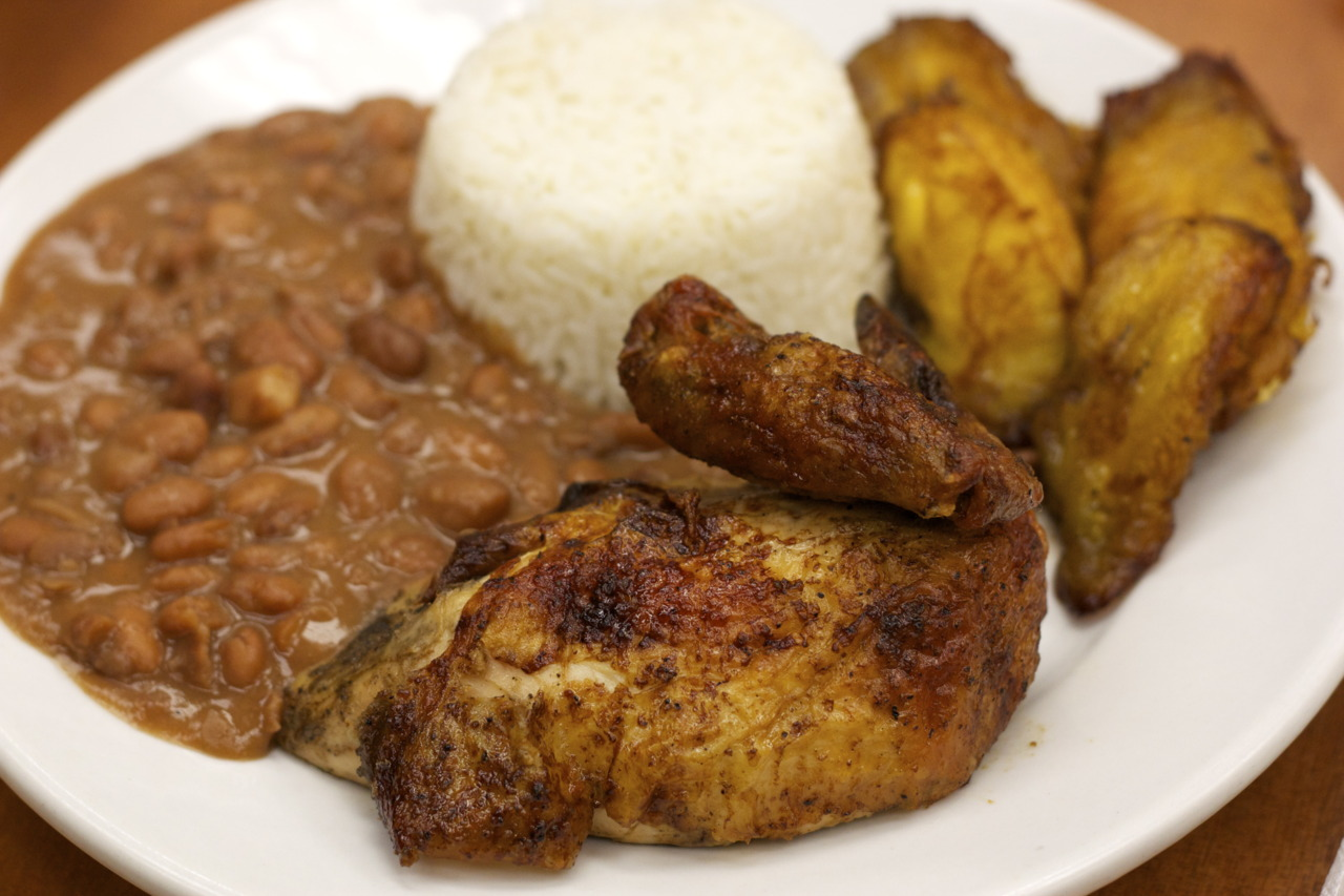 Quarter fried chicken with sides of rice, beans, and plantains @  Mr. Pollo  in West Covina, CA   DELICIOUS PERUVIAN FOOD FOR AN AMAZING PRICE - a foodie steal!