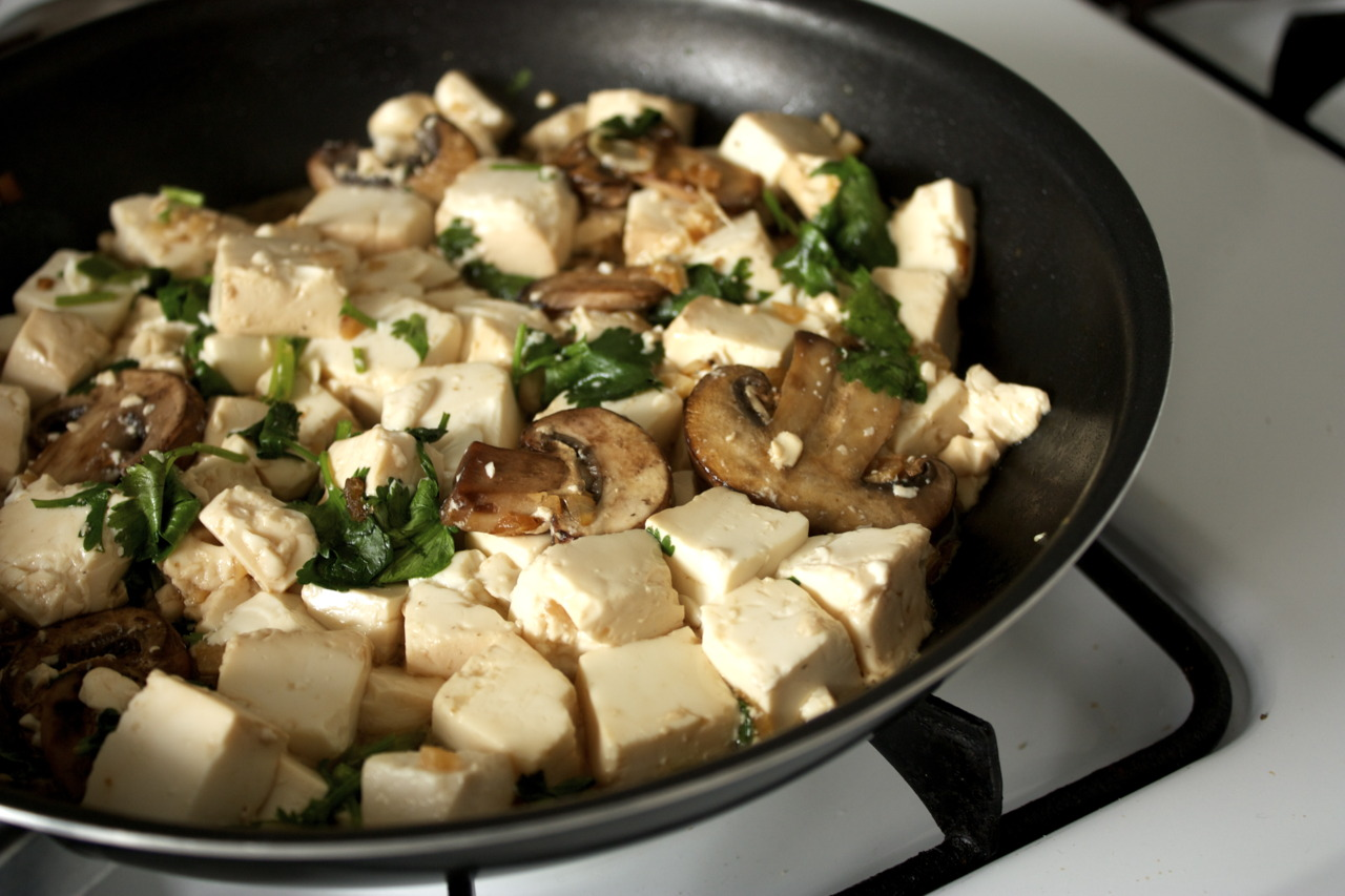 I planned out my schedule this semester so that I would be able to cook more because it's nice to eat home-cooked meals. Made a simple soft tofu stir-fry with mushrooms and cilantro. The great thing about mushrooms is that you do not always need to add sauce because it lets out a delicious juice that flavors your other ingredients.