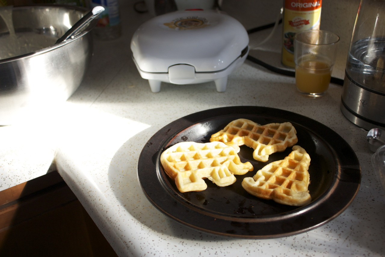 I finally started using my Original Circus Waffle Maker!!! Look at that clown…    For the waffle recipe, I used  Classic Waffles  from Allrecipes.com; easy and tasty.