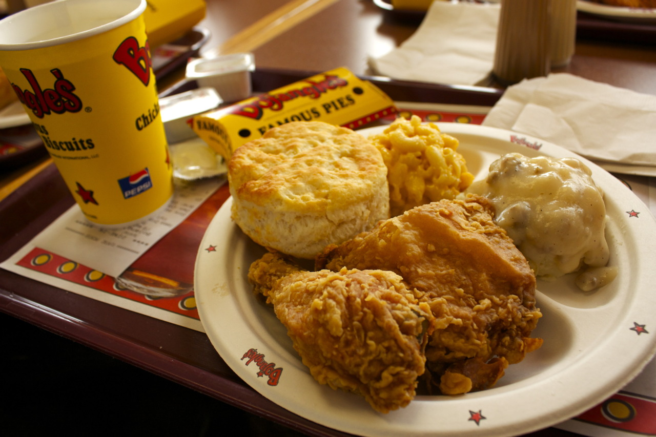 Two Piece Chicken Dinner (Leg and Thigh) with Mashed Potatoes and Gravy, Mac and Cheese, and Sweet Potato Pie @ Bojangles in Locust, NC    MY FIRST BOJANGLES EXPERIENCE!