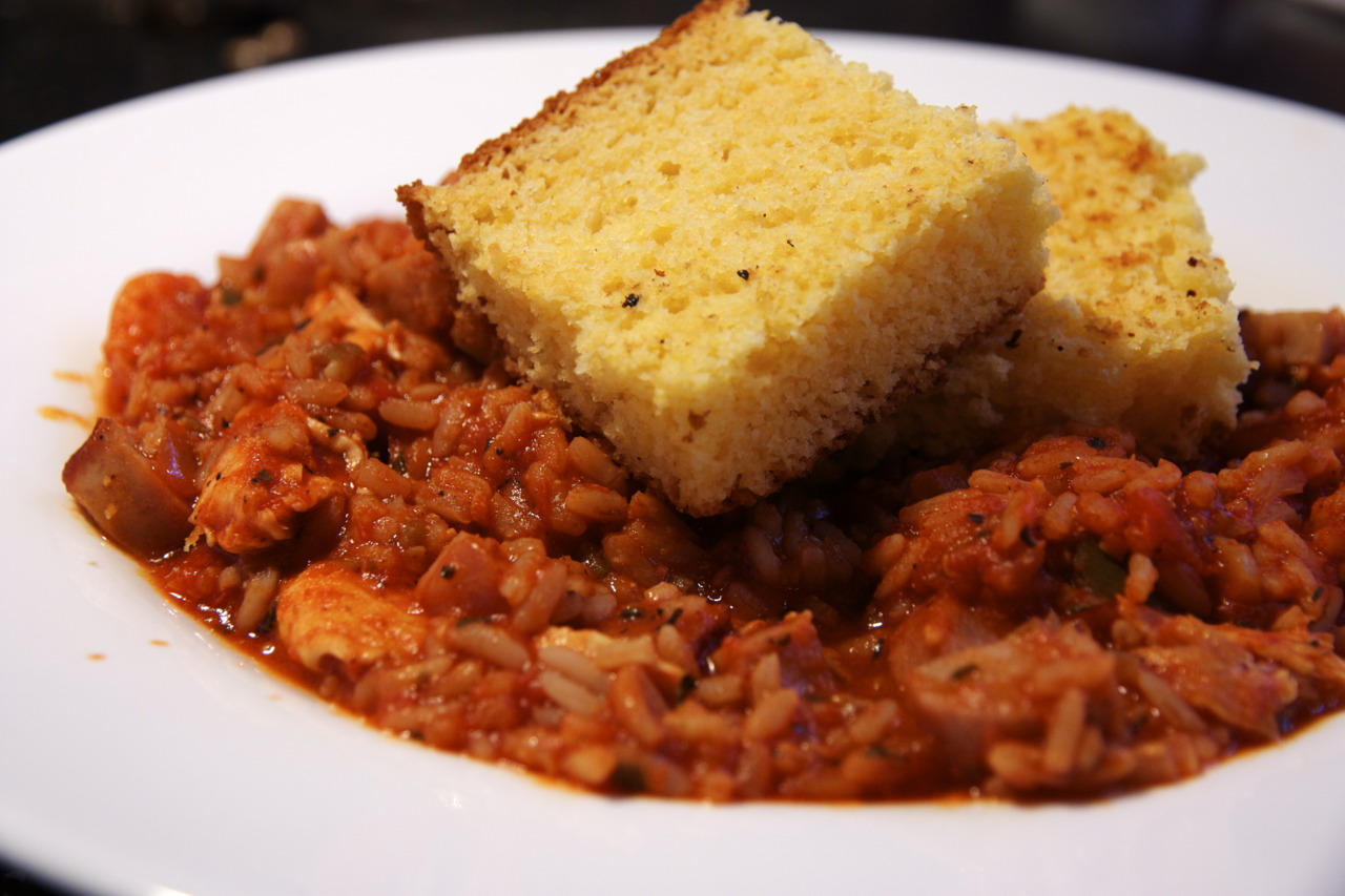 Seafood Jambalaya Special with Corn Bread @  Roundabout Diner  in Portsmouth, NH