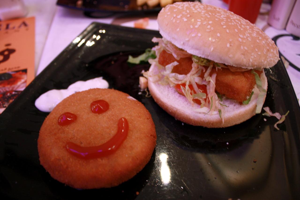 Fish Cake and Fish Burger @ Felfela on Gloucester Road, London