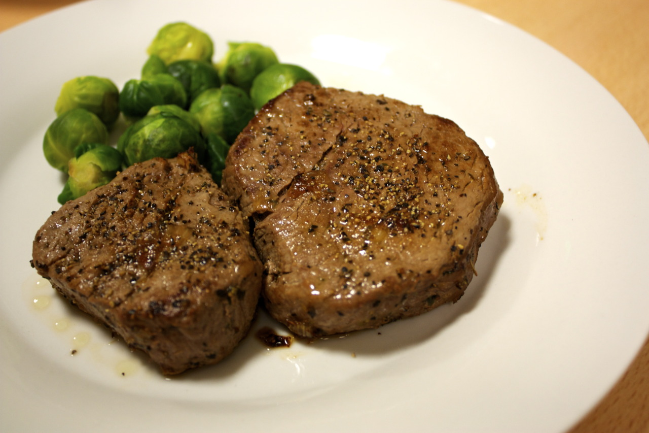 Made a simple, but perfectly medium-rare fillet steak with some brussel sprouts on the side. A hearty dinner indeed.