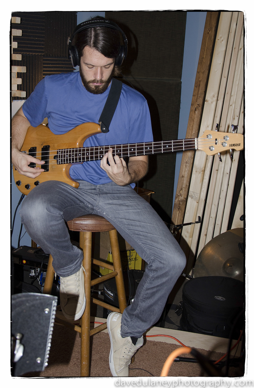 Seth Barden recording electric bass at Bit Heart Studios for the Coconut Husband single with The Brand New Life. August 2013.