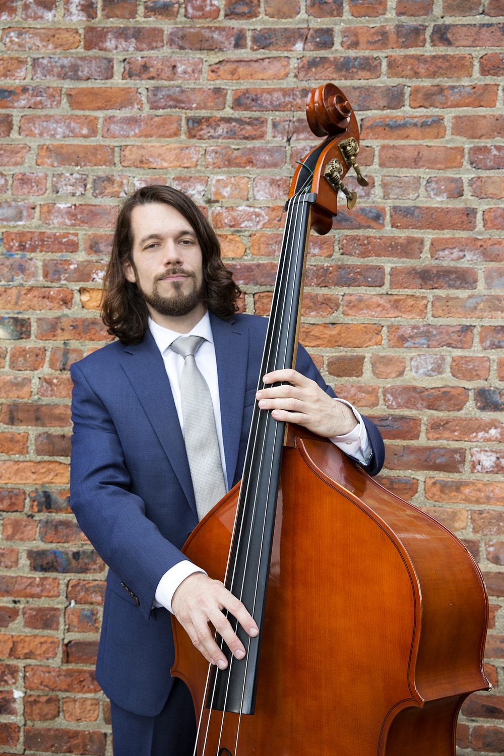 All cleaned up! Seth Barden and his upright bass.