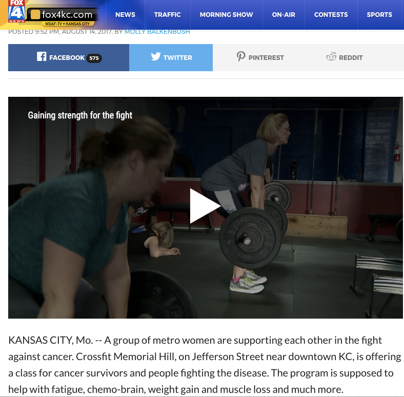 Fox News Interview - Dozens who have survived or are fighter cancer gain strength of KC crossfit group.
