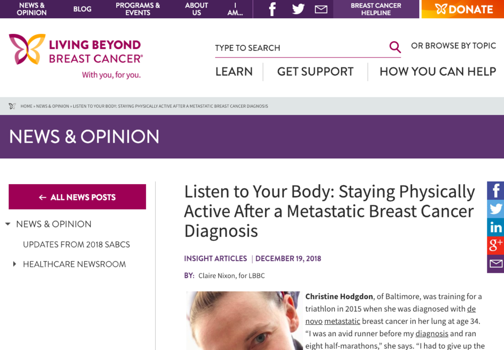 "Listen to Your Body: Staying Physically Active After a Metastatic Breast Cancer Diagnosis - ""I'd rather someone do 5 minutes per day every day than go out one day, do an hour, and then they're done for 4 to 5 days because they're so wiped out. Consistent daily activity is much more important than just trying to hit a number."""