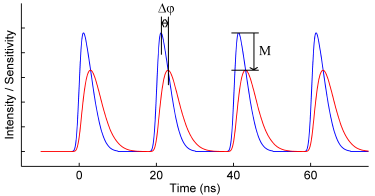 Figure 3. Fluorescence emission (red), showing a phase lag and reduced amplitude with respect to the excitation signal (blue) due to the fluorescence lifetime.