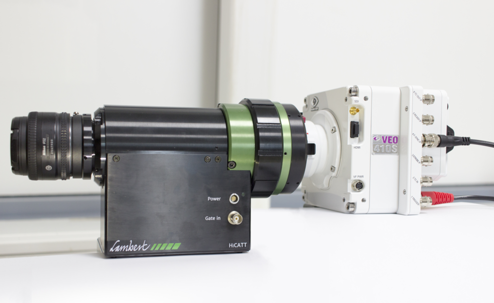 The HiCATT is an intensifier attachment for your high-speed camera. It provides increased light sensitivity for high-speed imaging applications. In this photo, the HiCATT is attached to a Phantom Veo 410S.
