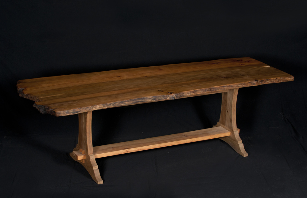 Live Edge Slab Trestle Table
