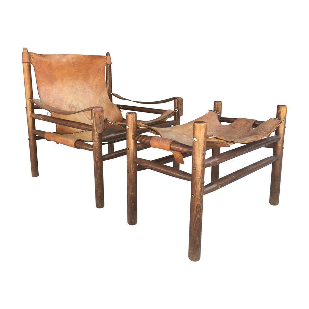 Vintage 1970s Hungarian Safari Chair U0026 Ottoman In Manner Of Arne Norell