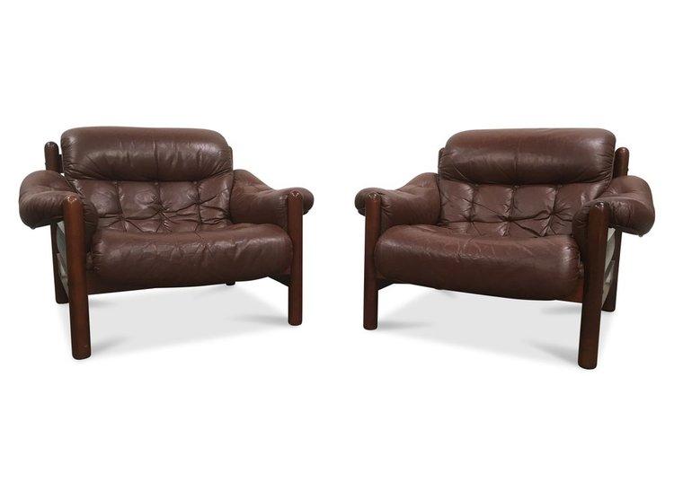Pair of Göte Möbler Swedish Leather Lounge Chairs — deKor
