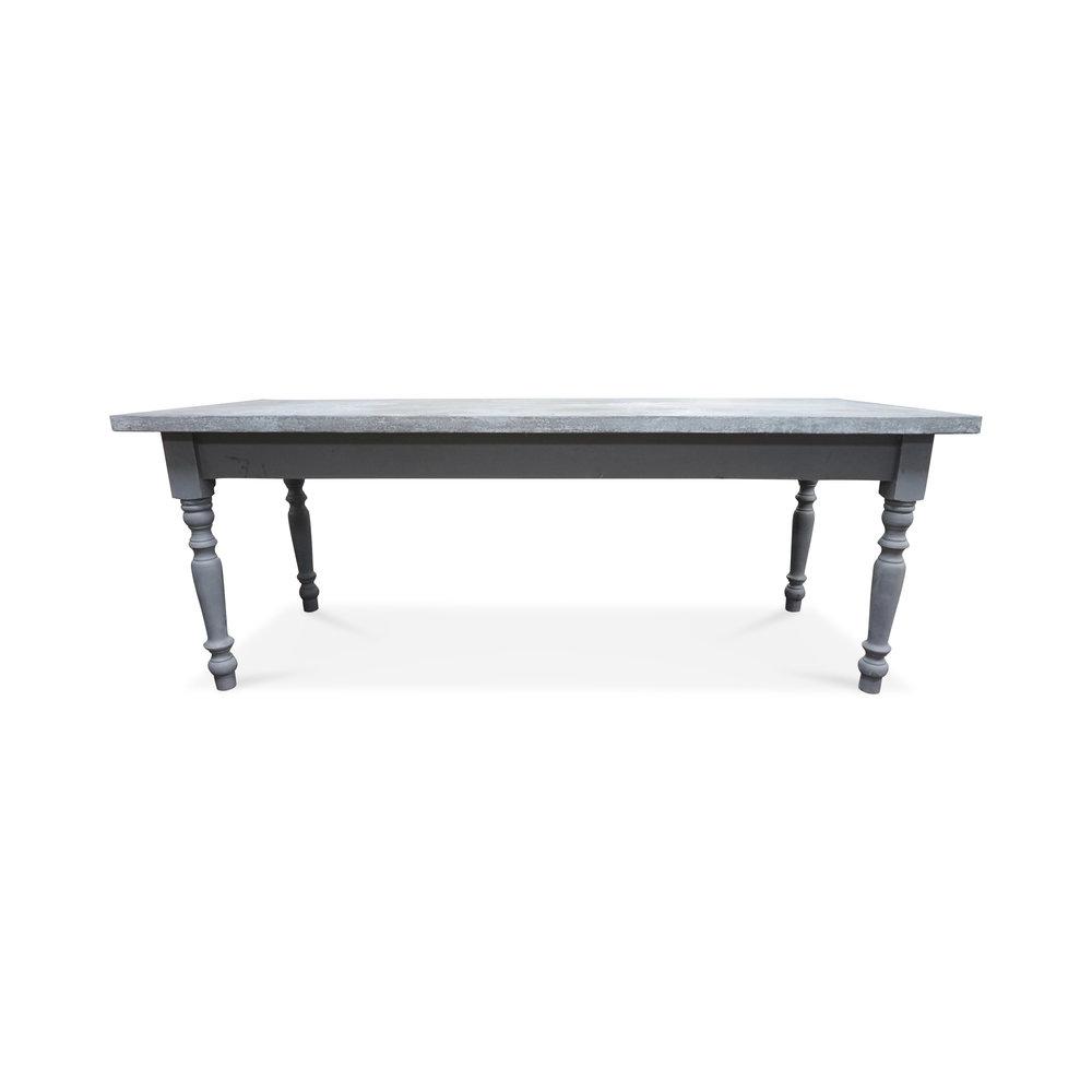 """Vintage European Zinc Top Farm Table  85""""L x 32""""D x 32""""H"""
