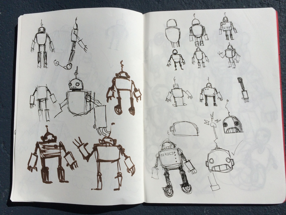 One Holiday Past Robot Concept Thumbnails 2