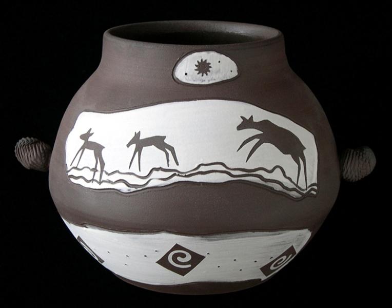 Deer Run & spirals vase with ears.jpg