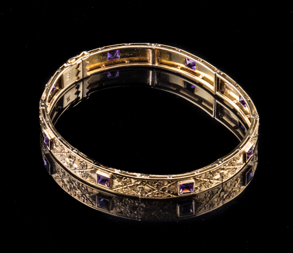 18kt yellow gold amethyst Art Deco bracelet