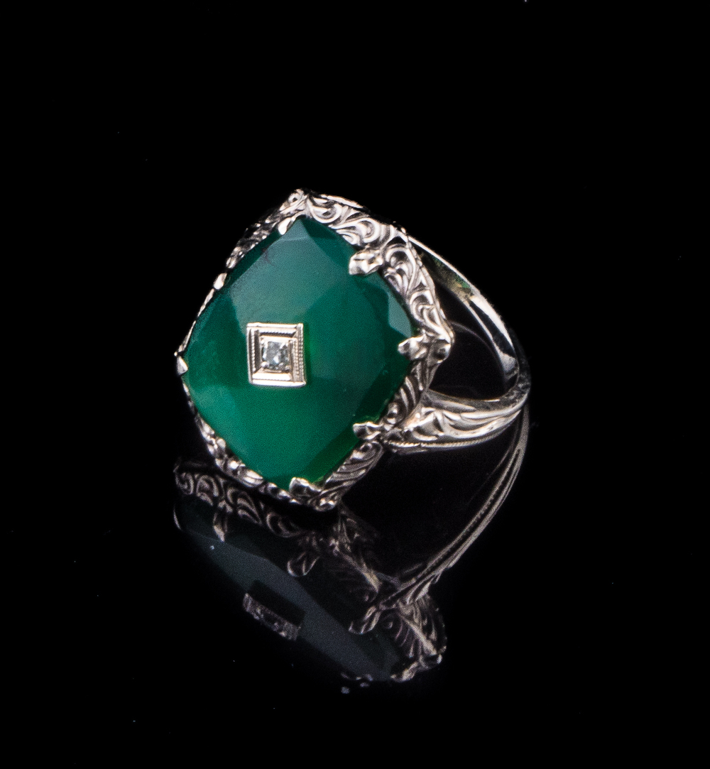 Art Deco 14kt green onyx ring with diamonds