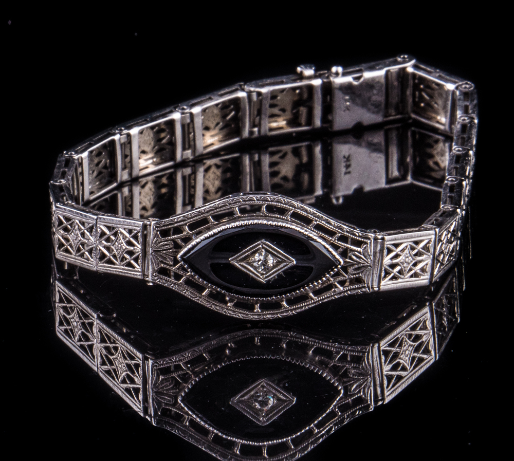 Art Deco 14kt filigree onyx bracelet with diamond accent