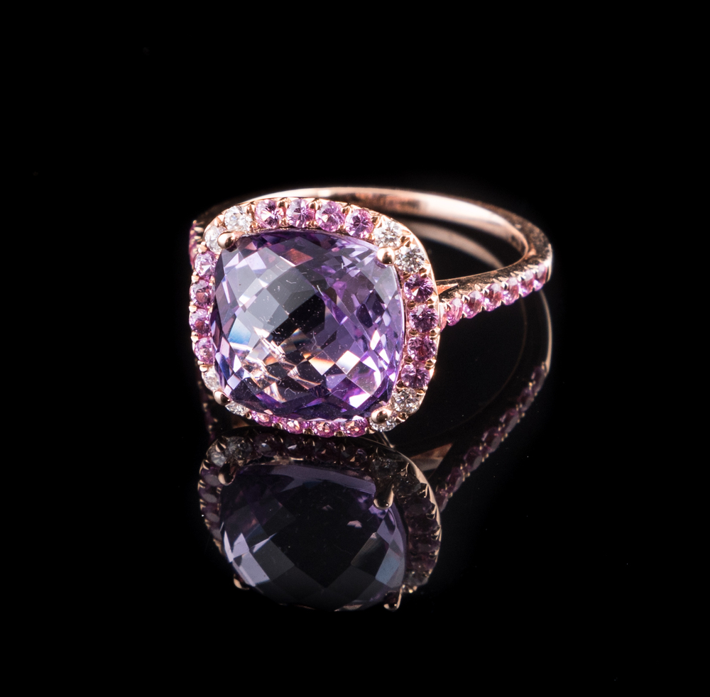 14kt rose gold fancy cut Amethyst, pink Sapphire and Diamond halo style ring..jpg