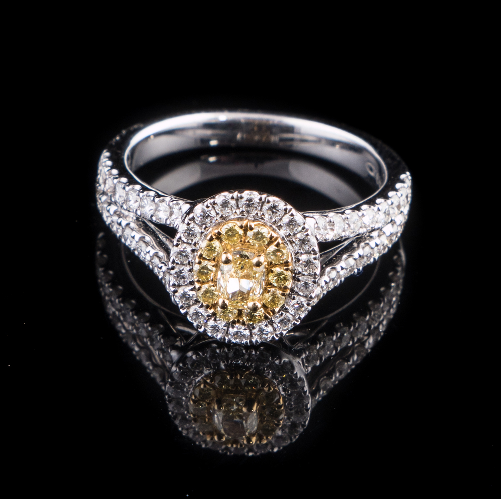 18kt white and yellow gold double halo ring with yellow and white Diamonds..jpg