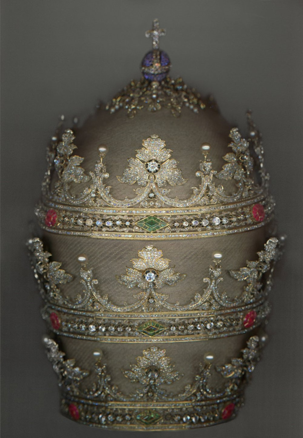 Tiara of Pius IX - Tiara of Pius IX (r. 1846–78), 1854. German and Spanish. Courtesy of the Collection of the Office of Liturgical Celebrations of the Supreme Pontiff, Papal Sacristy, Vatican City. Digital composite scan by Katerina Jebb
