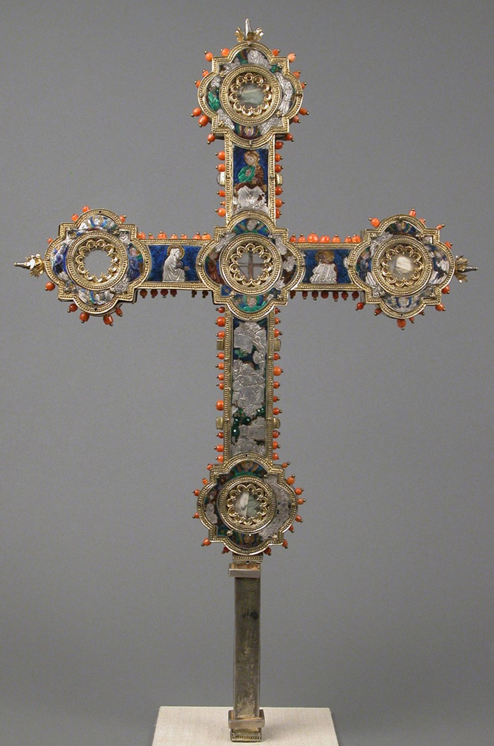 Reliquary cross, 14th century. Italian. Enamel, silver-gilt, coral, glass, rock-crystal, gold leaf. The Metropolitan Museum of Art, Gift of J. Pierpoint Morgan, 1917 (17.190.497)