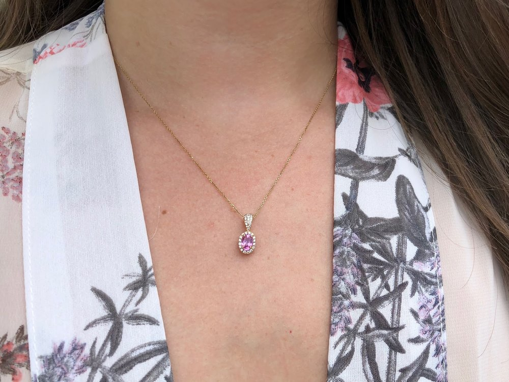 .67ct pink sapphire, .16ct diamond, 14kt gold